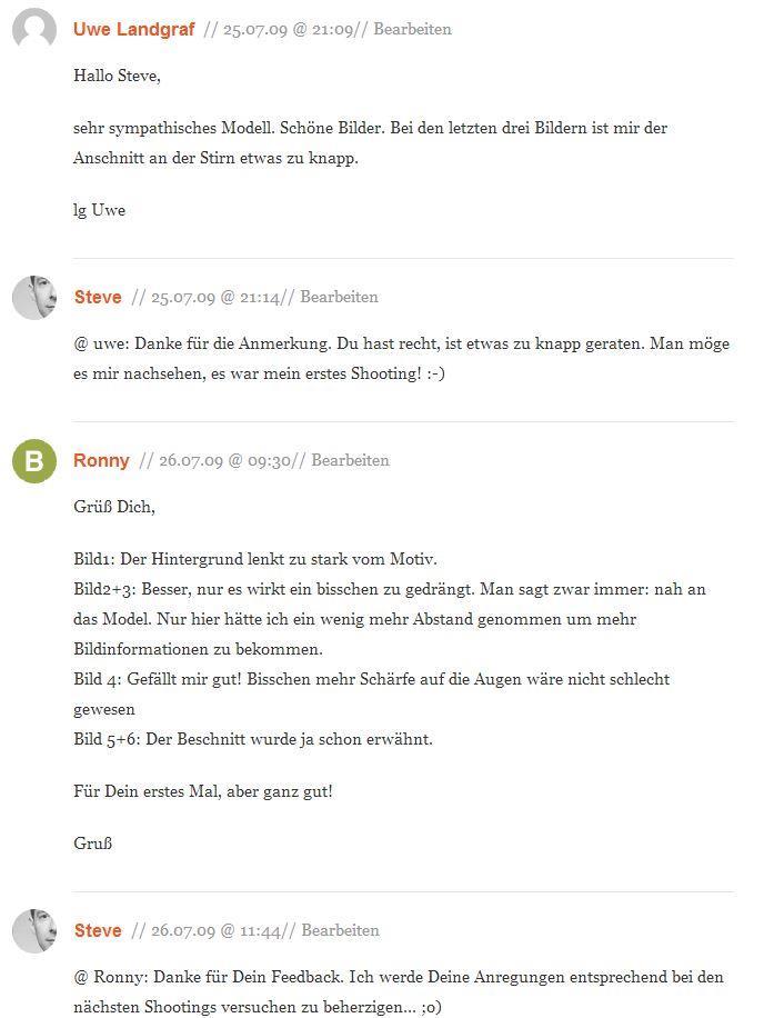 Kommentare zu Artikel Shooting Ani 01-2009 auf pixmake.de