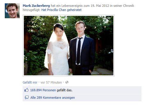 Hochzeitsfoto von Mark Zuckerberg und Priscilla Chan