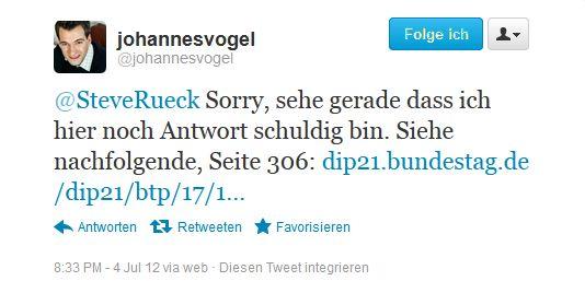 Johannes Vogel Antwort-Tweet  zu gleichgeschl. Ehe