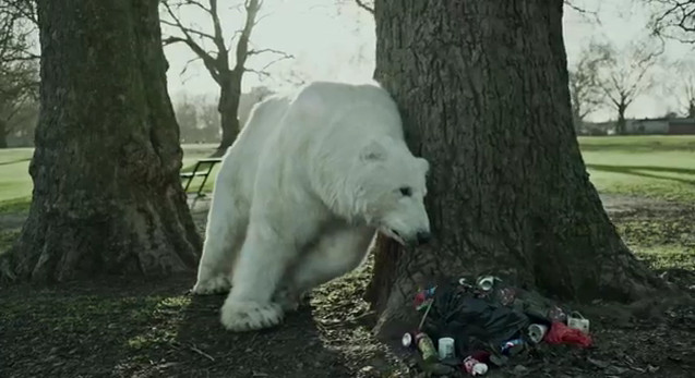 homeless polar bear london greenpeace commercial