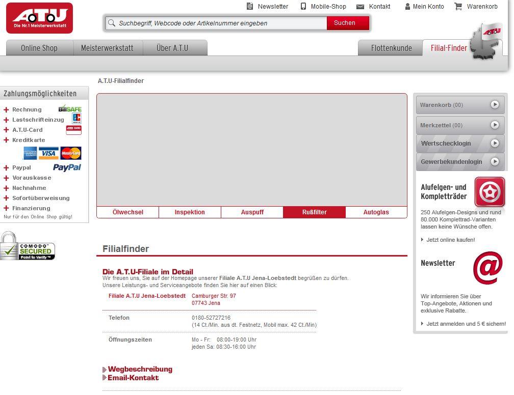 Screen: Info Zahlungsmöglichkeiten bei A.T.U.