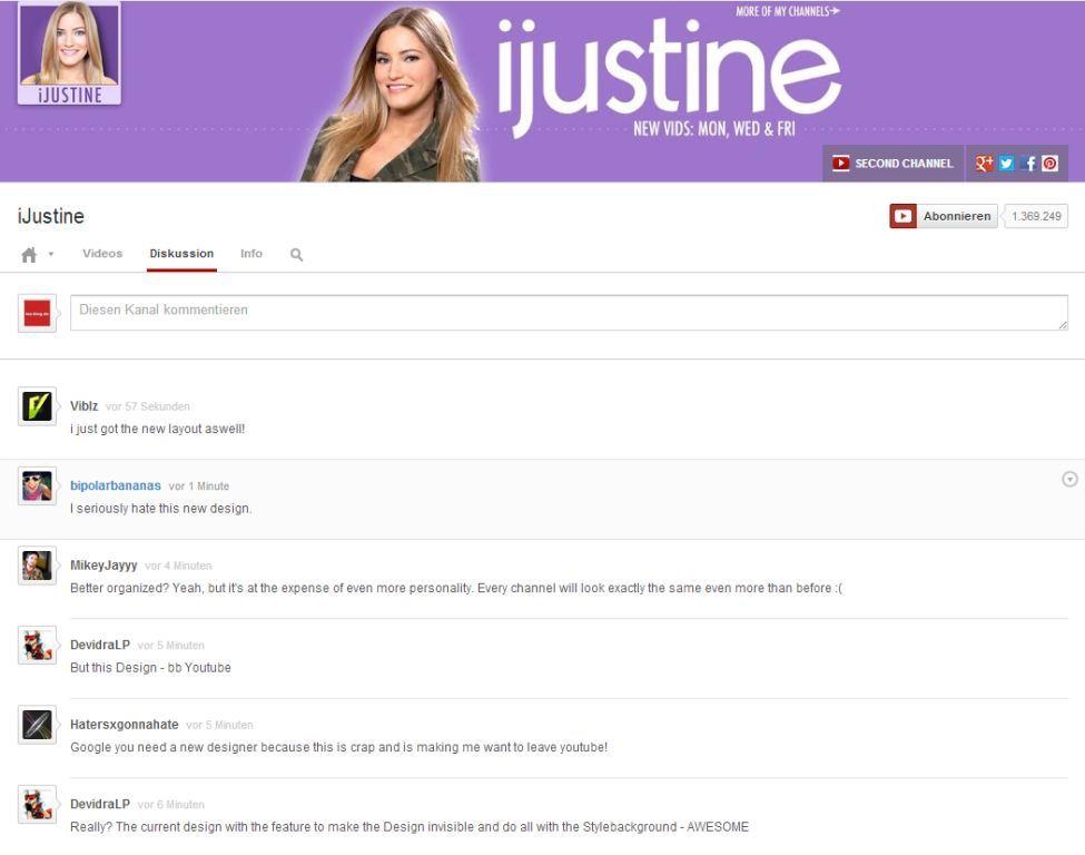 Diskussionsseite neues YouTube Design