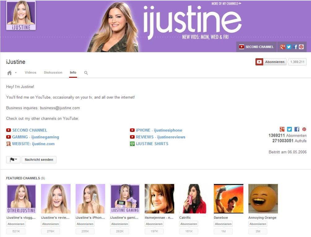 Infoseite neues YouTube Design