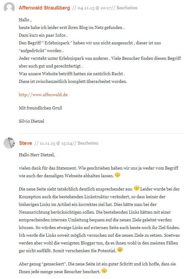 Kommentare zu Affenpark Straußberg / Thür. auf pixmake.de