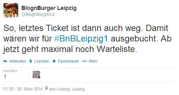 Tweet BnBLeipzig1 ausgebucht