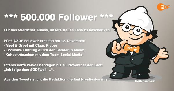 ZDF 500.000 Follower - Verlosungs-Tweet