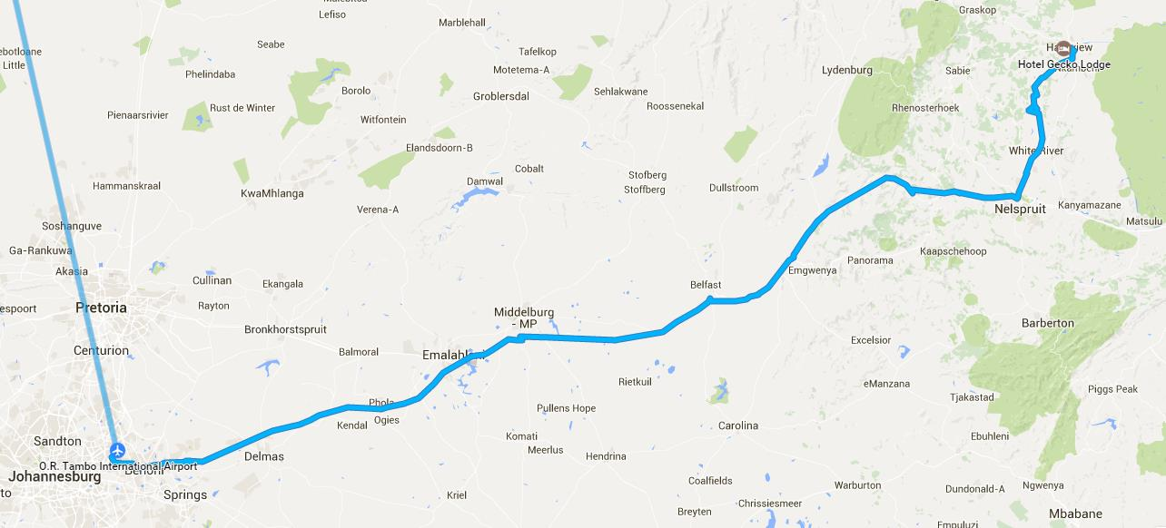 route Johannesburg to Hazyview / Gecko Lodge